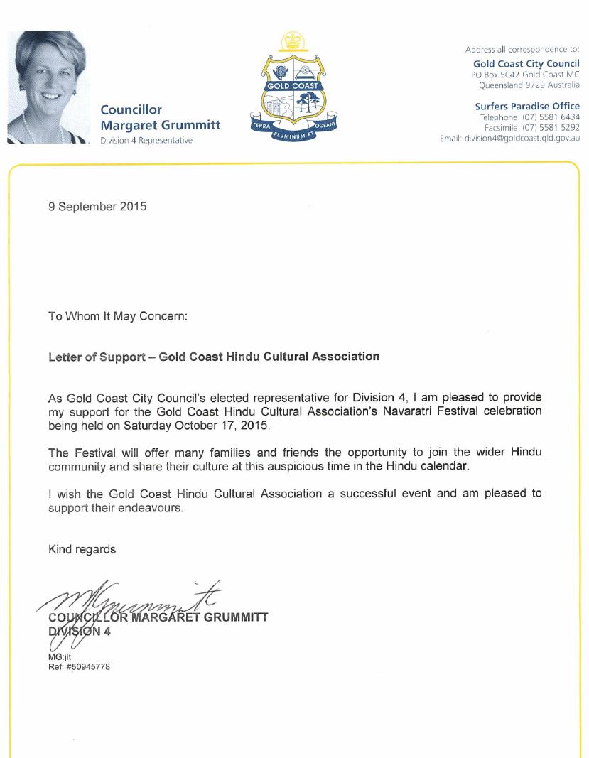Letter Of Support Cr Margaret Grummitt