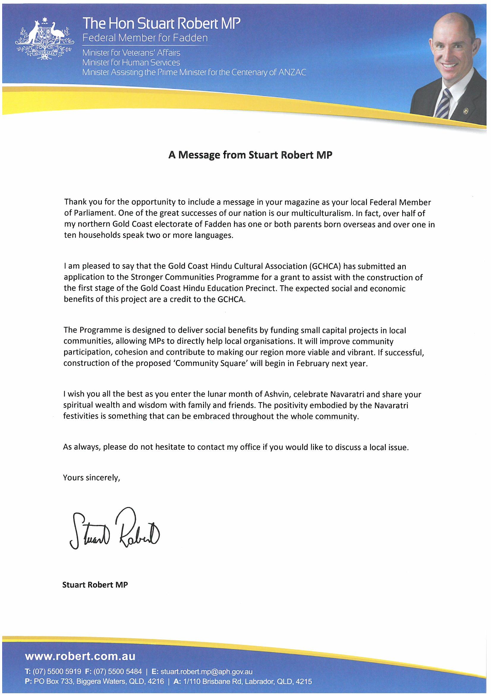 Letter Of Support - Minister Rob Stuart