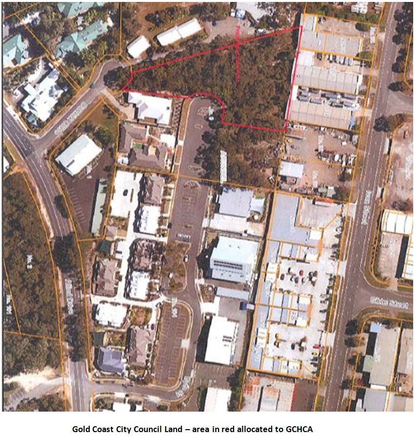 Gold Coast City Council Land - Area in red allocated to GCHCA